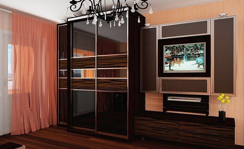 """Шкаф-купе в гостиную 024 студия мебели """"мастер"""", уфа."""